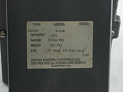United Electric J402AP S164B Pressure Switch Range 0-200 PSI NEW