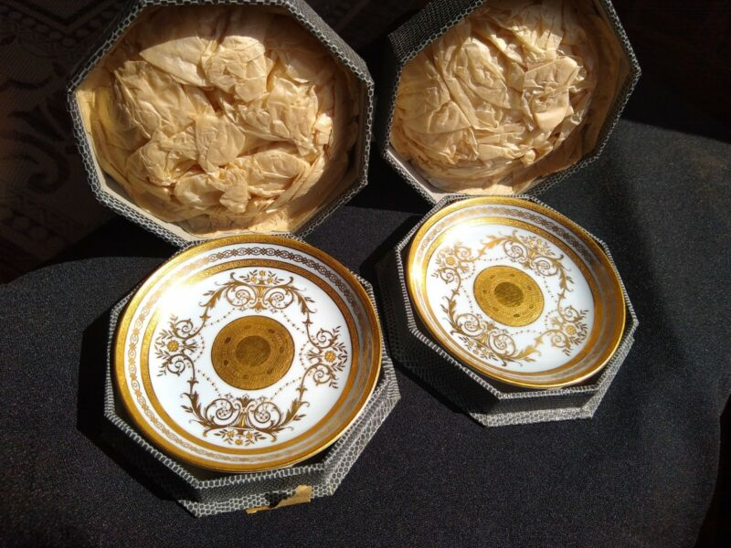 """Pair of Minton 4 3/8"""" Plates Gold & White Perfect! In Original Box!!!"""