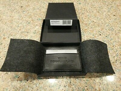 Donald Trump Signature Modernist Tumi Mens Black Leather CARD Case Wallet RARE!!