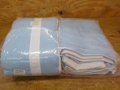 Baby Doll Bedding Solid Stripe Crib 4 Piece Bedding Set, Light Blue/White Stripes Crib Baby Bedding