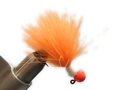 Red Head Red Chenille Red Marabou jigs 2x forged Salmon Steelhead 6pk 1//8oz