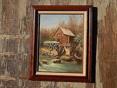 Old Lumber Mill and Carpenter's Shop Water Wheel. Original Oil Painting.