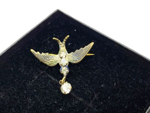 Small Antique Diamond Paste & Gilt Metal Swallow Bird Brooch