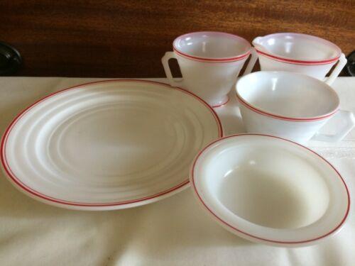 Hazel Atlas assorted lot Moderntone white/w red stripes 5pc