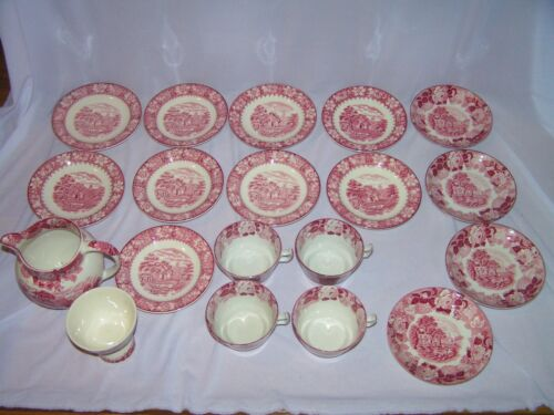 19 Pcs Vintage Red Woods Ware English Scenery China Cups Saucers Creamer Sugar
