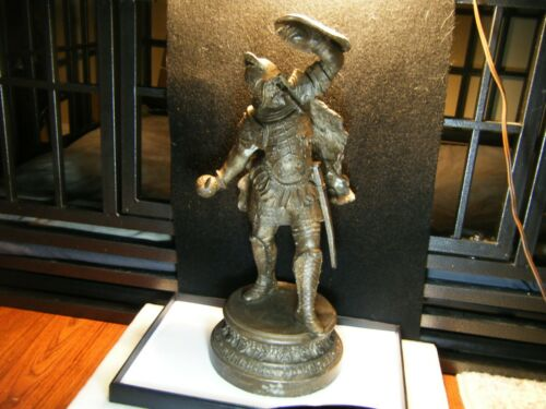"Antique Spelter Pot Metal Viking Knight Gladiator Warrior Soldier Statue 15"""