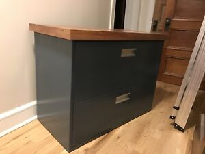 Metal lateral filing cabinet with solid cherry wood top