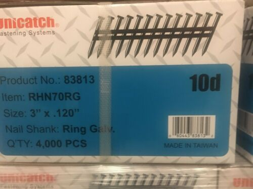 "3"" x .120 RING GALV, 21` Framing Nails 4000/Case Hitachi,DeWalt,Senco"