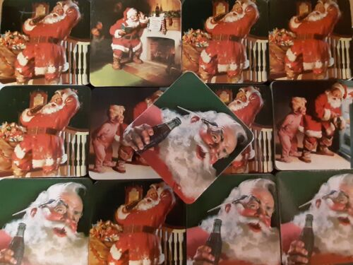LOT of 13 sets of 4 COCA COLA SANTA CORK BACK 3.5 X 3.5 COASTERS for resale