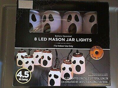 Halloween Indoor LED Mason Jar Party Lights - GHOST - Halloween Party NIP
