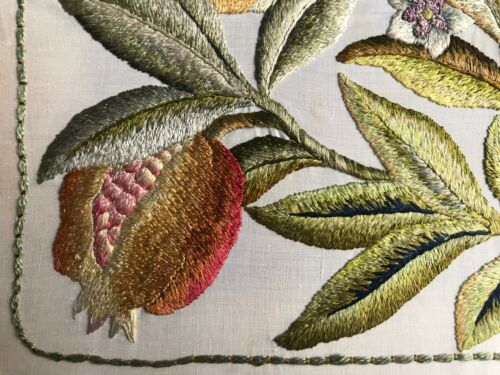 Embroidery Tapestry Arts & Crafts Silk Work ~ Pomegranates W.Morris Style