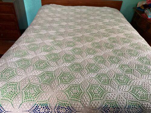 "Vintage crochet bed coverlet 100"" x 88"" ecru"