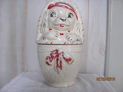 "Cookie Jar Rare Vintage 1930's  American Bisque  ""Dog In Basket"""