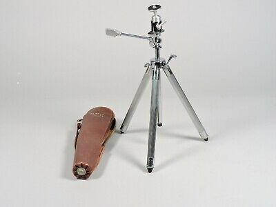 """Vintage Accura Risomatic Chrome Camera Tripod with Case Approx 11"""" to 46"""""""