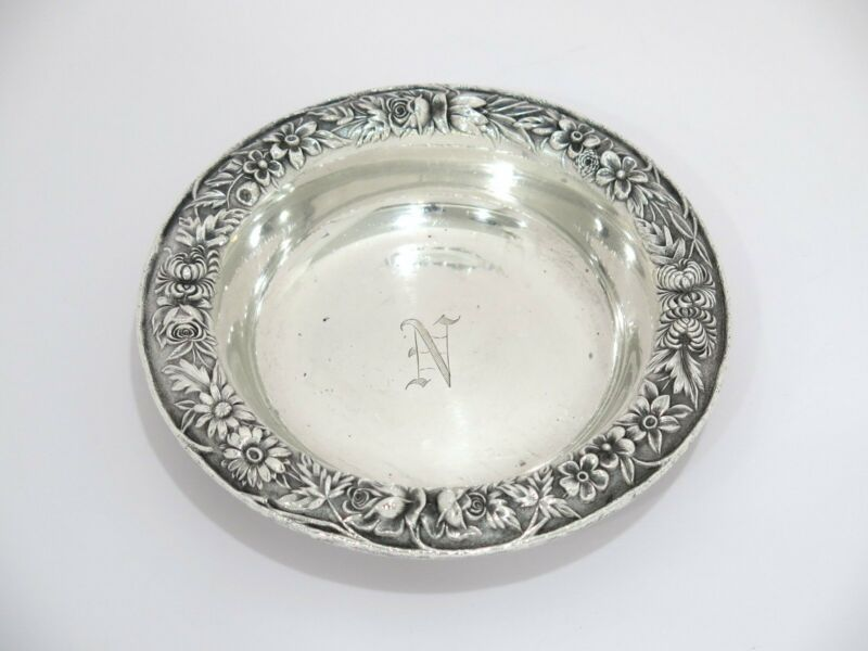 """6 1/8"""" Sterling Silver S. Kirk & Son Antique Floral Repousse Round Serving Plate"""