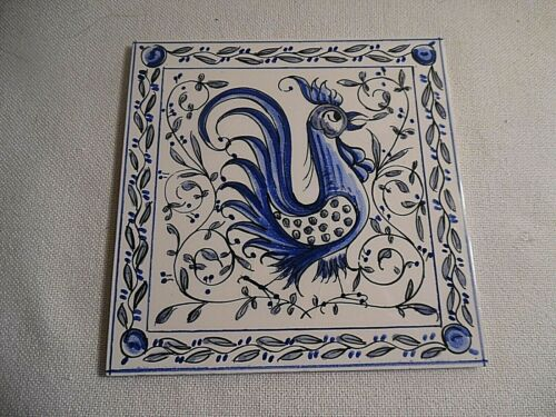 BLUE AND WHITE PORTUGESE ROOSTER TILE TRIVET OUTERO AGUEDA MADE IN PORTUGAL