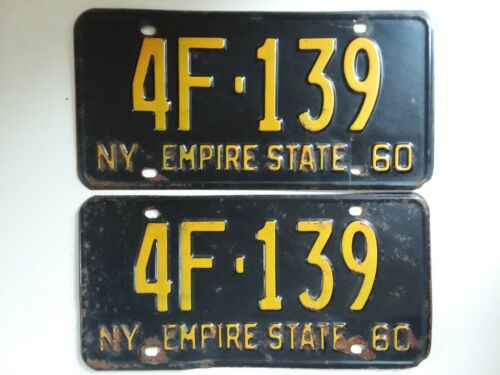 1960 Empire State Vintage Matched Pair New York Metal License Plates 4F*139