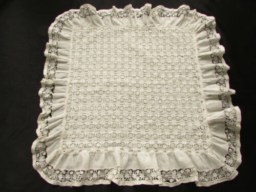 Antique White Linen Throw Pillow Cover Embroidered with Cut Work