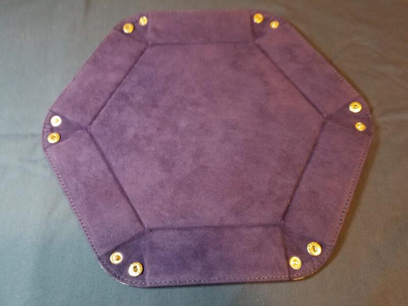 Dice PU Leather Folding Hexagon Tray With Purple Velvet Entertainment Games FM