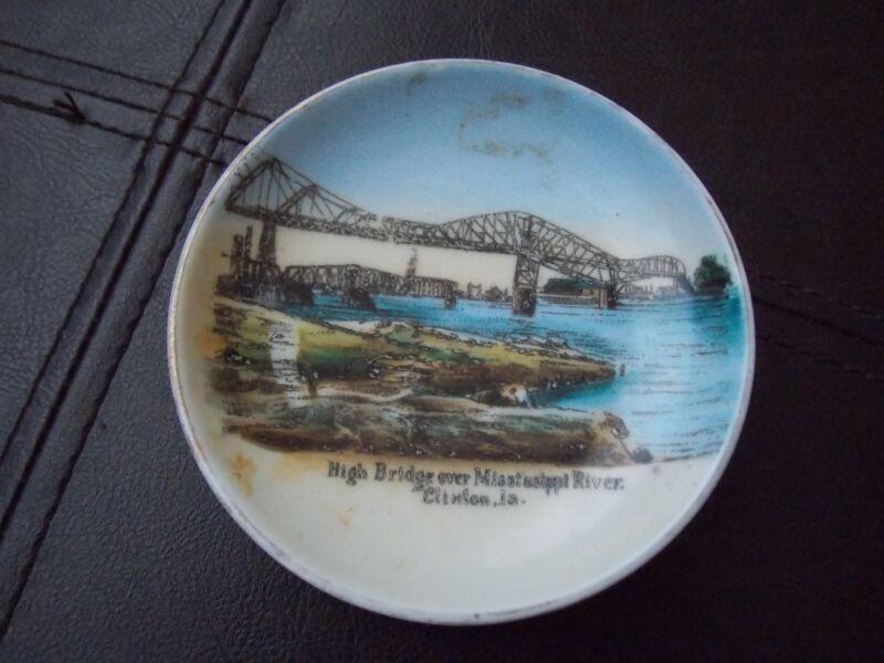 Clinton Iowa IA Souvenir China dish (lot38) HIGH BRIDGE OVER MISSISSIPPI RIVER