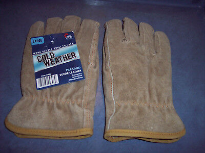 New Mens Suede Leather Work Gloves Size L Free Sh