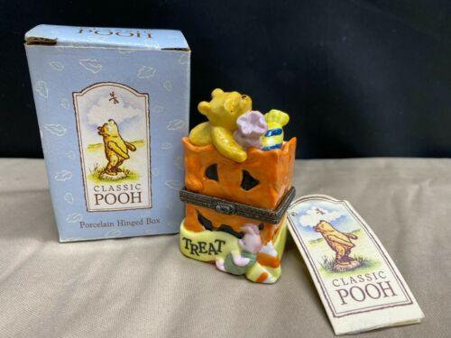 """Classic Pooh Hinged Trinket Box ~ TRICK or TREAT / Pumpkin ~ 3 1/4"""" Tall"""