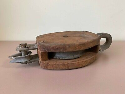 Vintage Soviet Old Wood Metal Hanging Block & Tackle Pulley Barn Hardware Tool