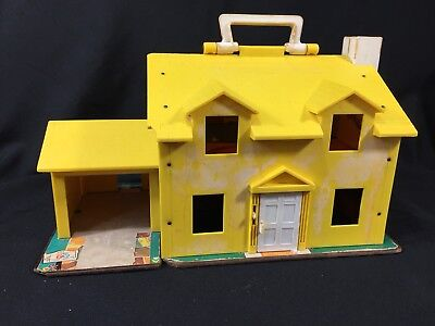 1969 Fisher Price Family House Little People #952 Yellow 2 Story for Restoration