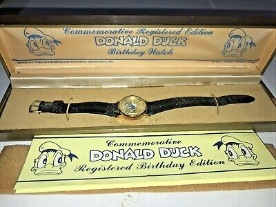 Vintage Bradley Commemorative DONALD DUCK wrist watch Gold Plate Leather
