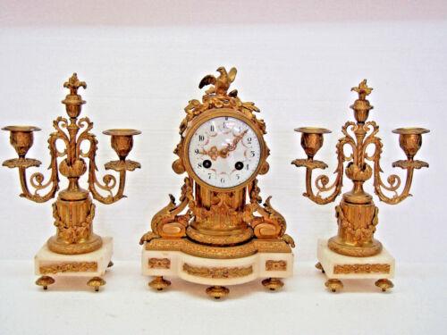 Stunning Antique 1885 French A.D. Mougin 3 PIECE Mantel Clock