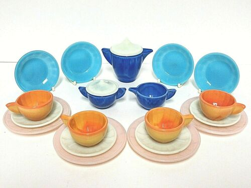 Akro Agate Large Interior Panel 21 Piece 5 Color Gypsy Childs Tea Set Signed #32