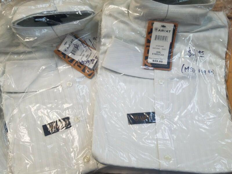 $50 NIP Ariat Girls 8Reg Victory Show Shirt white english hunter pony LAST ONES