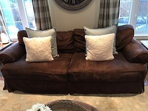 housewarmings brown ultra suede slipcover couch and 2 arm chairs