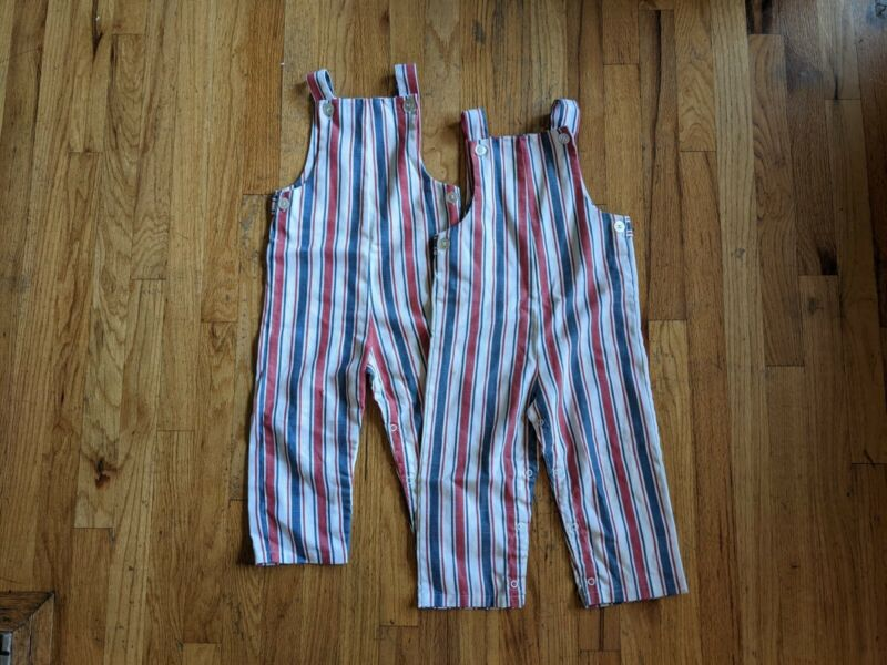 2 Pairs Lot Vintage 1970s HealthTex Red White Blue Striped Overalls Pants 4T