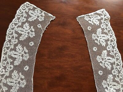 Antique Pair Matching Shaped NEEDLEWORK Lace Dress Trims 24x4 Inches