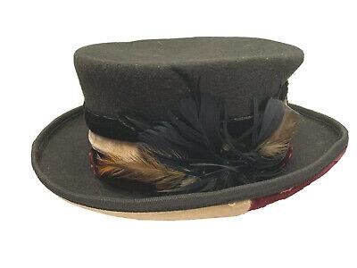 Victorian Steampunk Top Hat Conner Hats Velvet Love Black One Size c1063-1