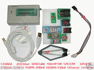 TL866A High Speed Programmer USB IC EPROM EEPROM FLASH BIOS+9 Adapters Extractor