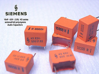 Siemens Ks - 10nf 2.5 63v Polystyrene Foil Audio Capacitors X 1000 Pieces