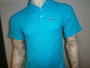Vtg izod lacoste alligator polo shirt preppie turquoise for Lacoste shirts with big alligator