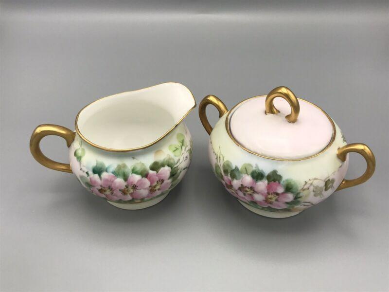 VTG Z.S. & Co. Bavaria Hand Painted Creamer & Sugar Bowl~Signed by Artist