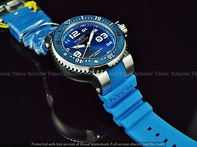 Invicta men's 52mm Grand Professional Diver SS Blue Silicone Strap Watch 1000FT