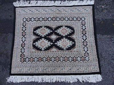 Vintage Persian Hand-Knotted Wool Rug-Black/Duck Egg Blue-3ft 9.5