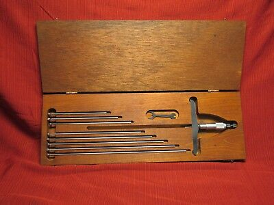 Starrett 445 0-9 Depth Micrometer. 5 Base .001 Grad. Wood Case Wrench.