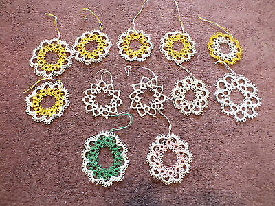 Collectible Handmade Tatted Ornament Set 12 Complete 2 1/2-3 Inch Long WOW