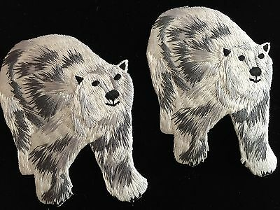Polar Bear Patch - Adorable Polar  Bear Embroidered Patch  Iron-On or Sew-On Applique 2 pcs