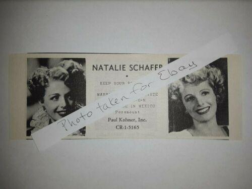 Natalie Schafer Original 1940s actors casting ad Gilligan