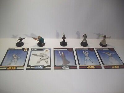 Star Wars Miniatures - Rare Jedi / Fringe Lot + Cards - x5 Rares