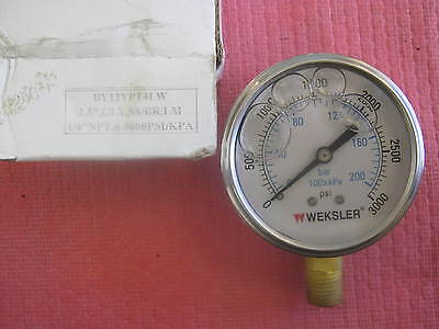 Weksler Model By12ypt4lw Pressure Gauge 2.5 New Old Stock