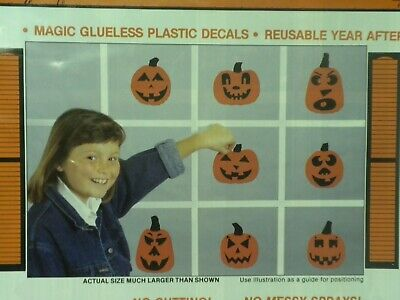 Pumpkin Patch Halloween Window Clings Vinyl Decals 8 Jack-O-Lantern Reusable NEW