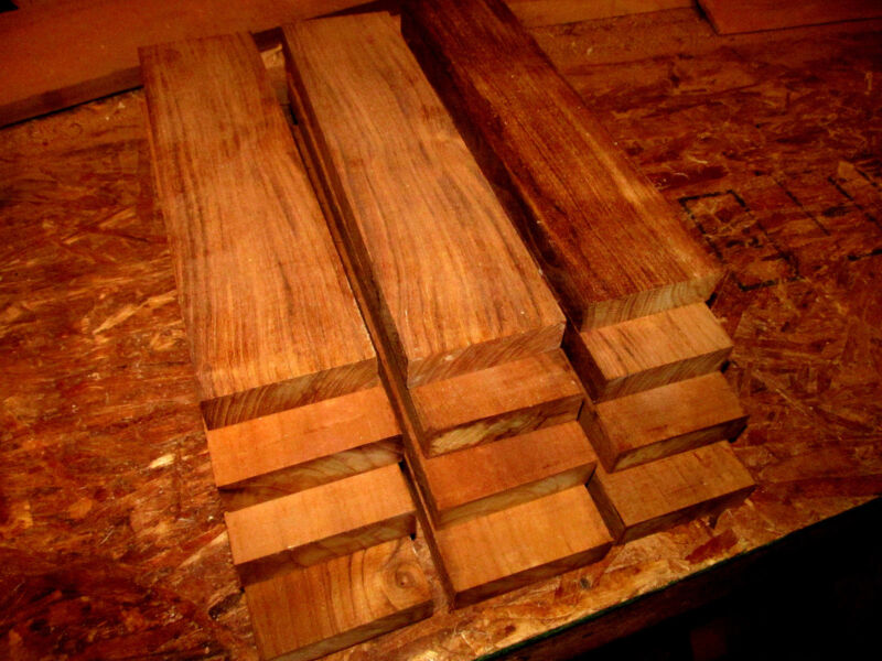 """TEN THIN PIECES KILN DRIED PIECES OF SANDED FEQ TEAK LUMBER WOOD 12"""" X 3"""" X 1/4"""""""